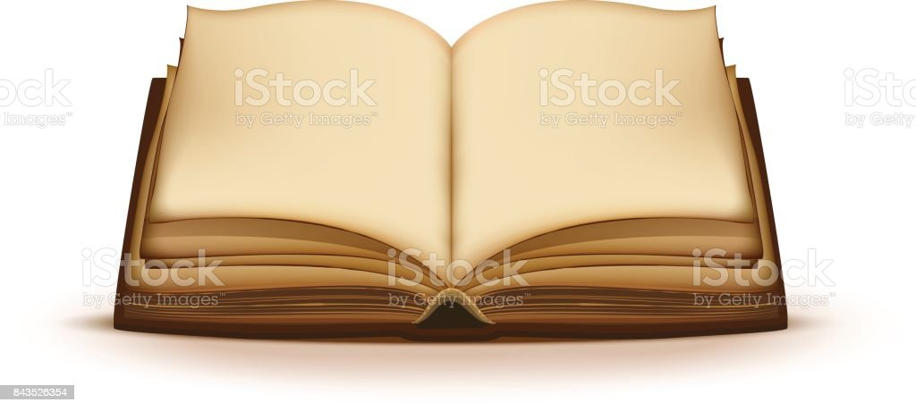 Old open magic book with blank pages vector art illustration