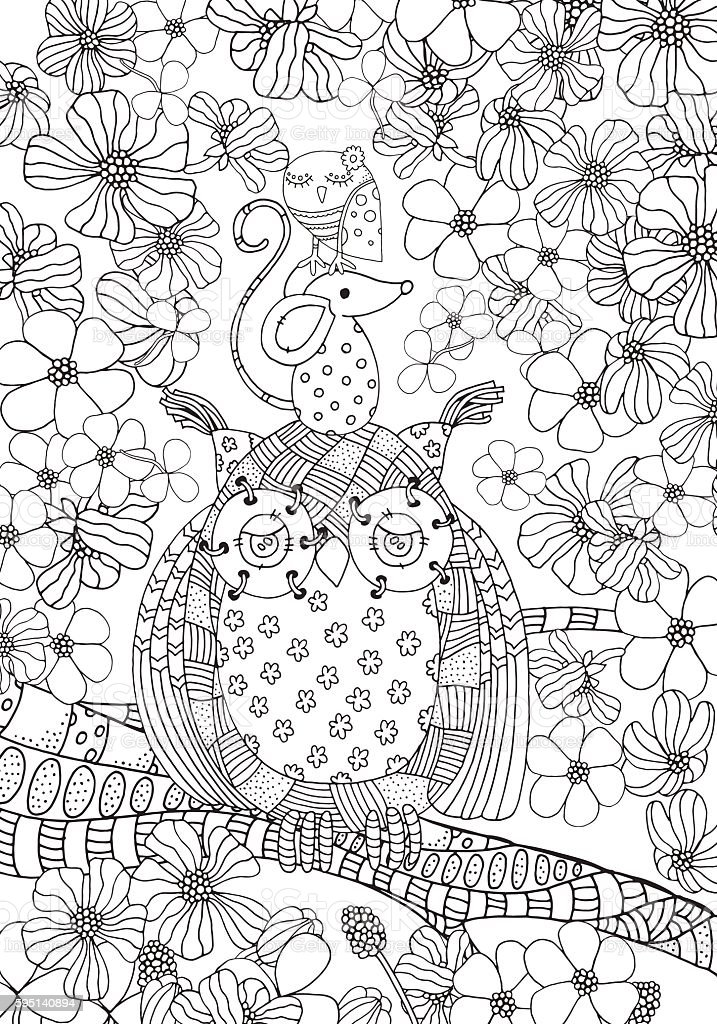 Old Owl Mouse And Little Bird Friendship Coloring Book Page Royalty Free Stock