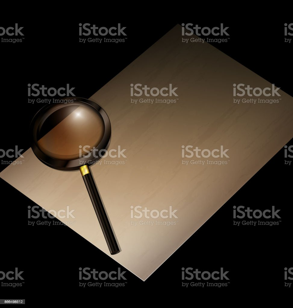 old page with magnifier vector art illustration