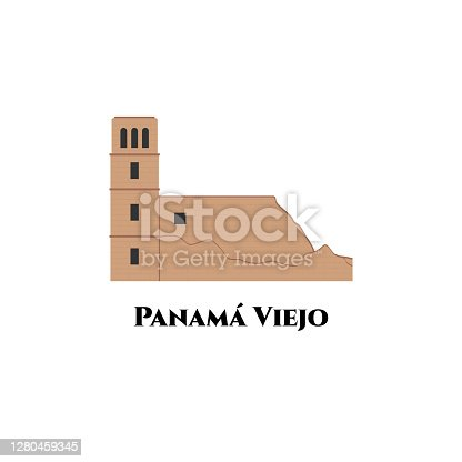 istock Old Panama Cathedral in Panama Viejo Historical Monumental Complex. UNESCO World Heritage Site. Spectacular views you should visit Panama Viejo. Business travel and tour guide 1280459345