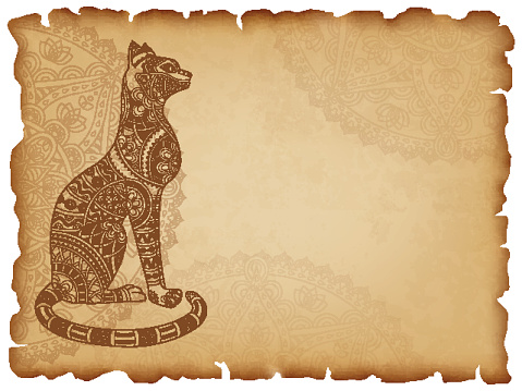 Old paper background with mandala cat