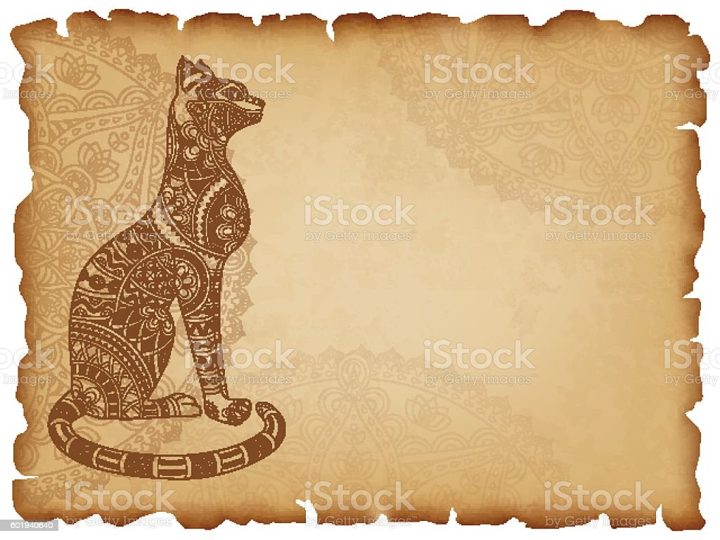 Old paper background with mandala cat vector art illustration