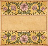 Vector illustration of floral empty frame template in art-nouveau style on parchment paper