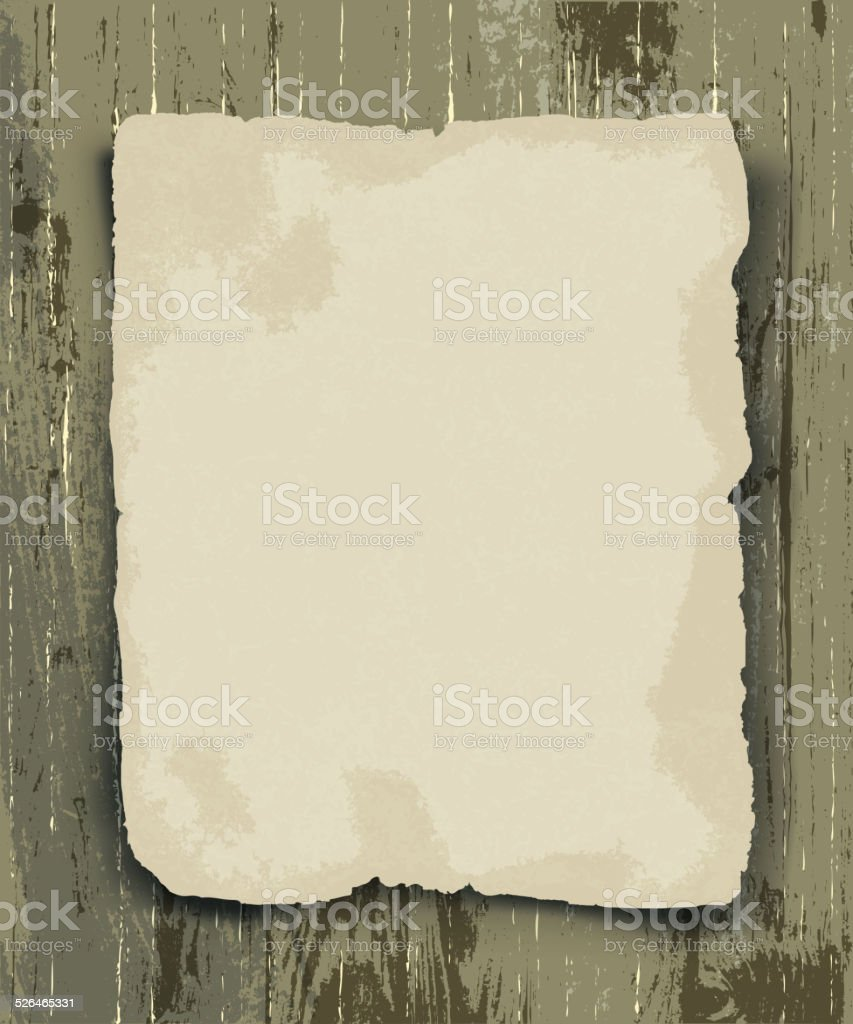 Old paper on the wood background vector art illustration