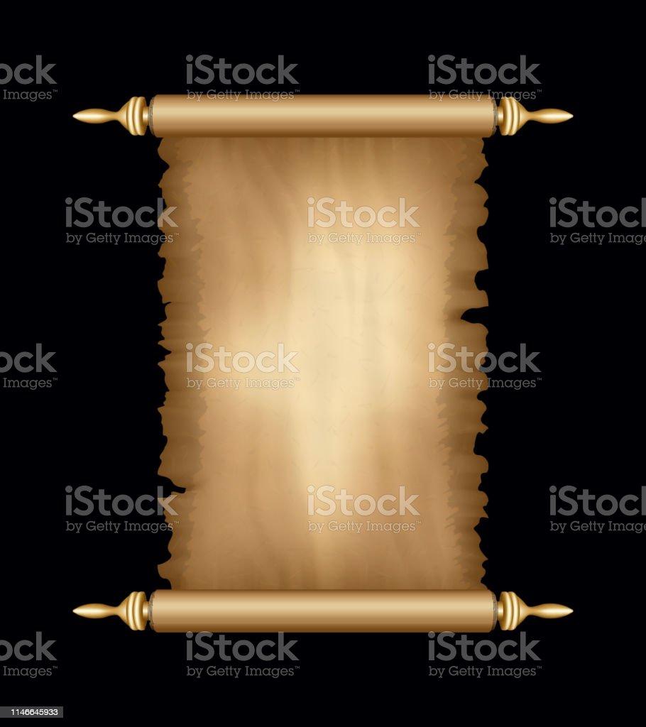 Old Paper Scroll. Vertical Parchment. Ancient Vintage Papyrus....