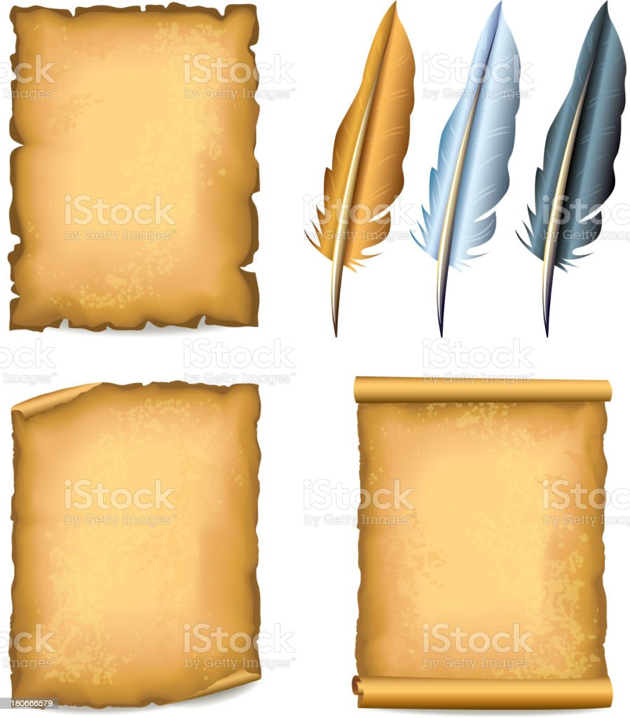 Old paper textured sheets and three feather pens royalty-free stock vector art