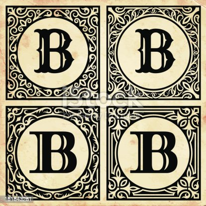 istock Old Paper with Decorative Letter B 181843281