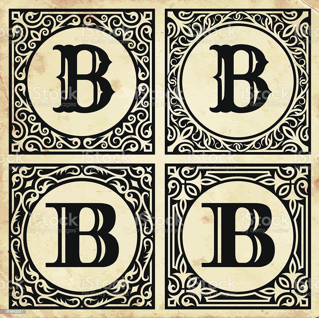 Old Paper with Decorative Letter B vector art illustration