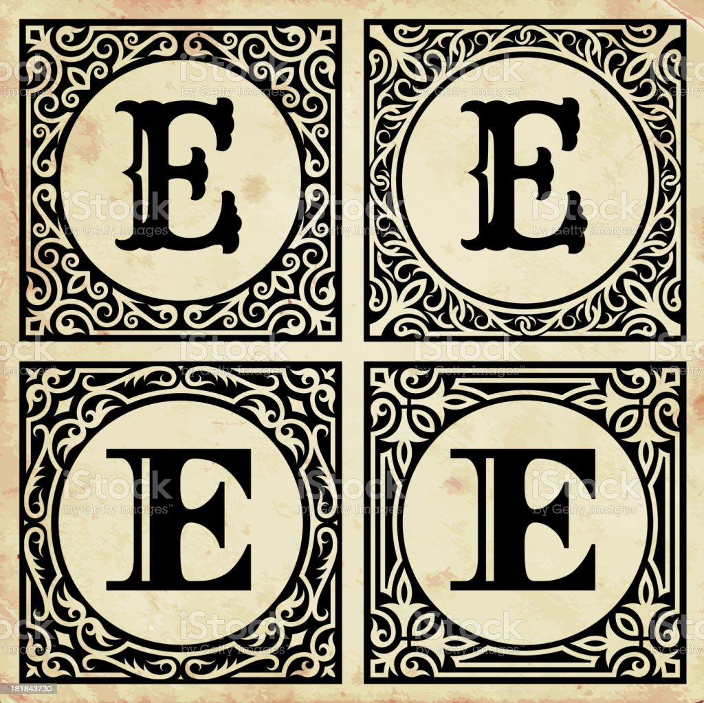 Old Paper With Decorative Letter E Stock Vector Art  More Images Of
