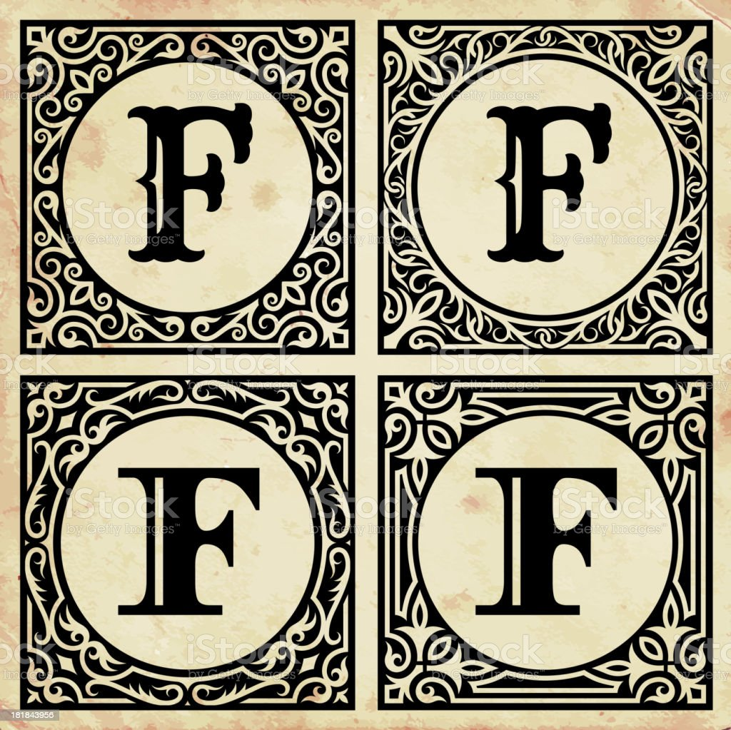 Old Paper with Decorative Letter F royalty-free old paper with decorative letter f stock vector art & more images of alphabet