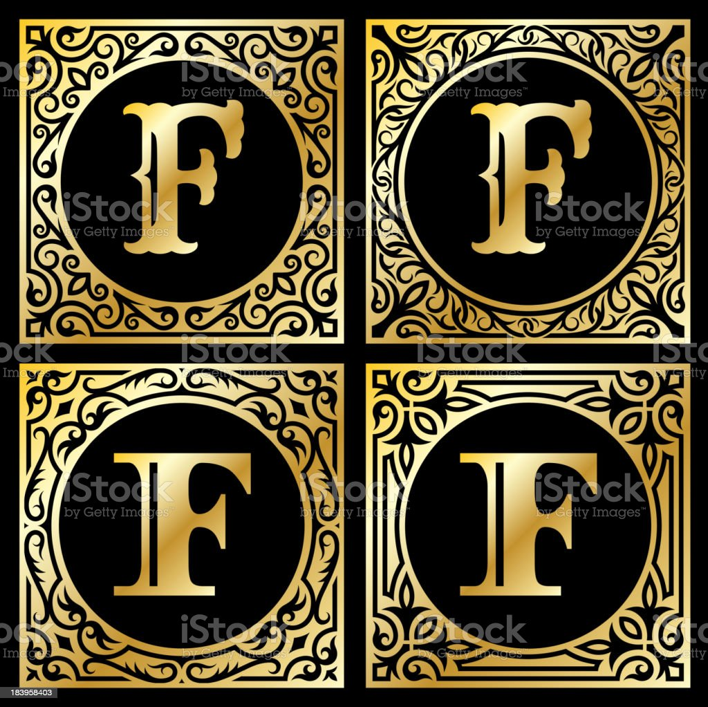 Old Paper with Decorative Letter F royalty-free stock vector art