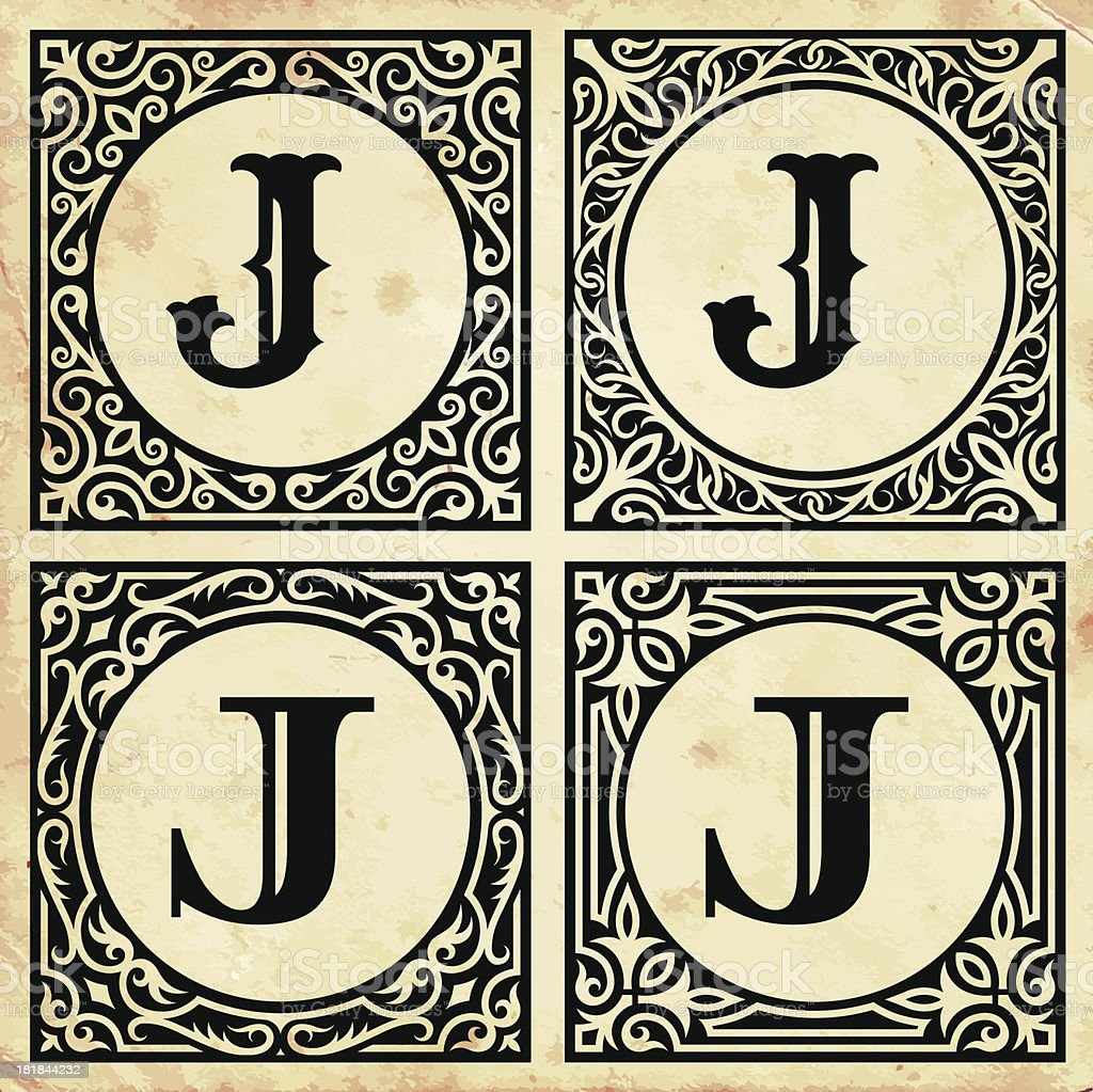 Old Paper with Decorative Letter J royalty-free old paper with decorative letter j stock vector art & more images of alphabet