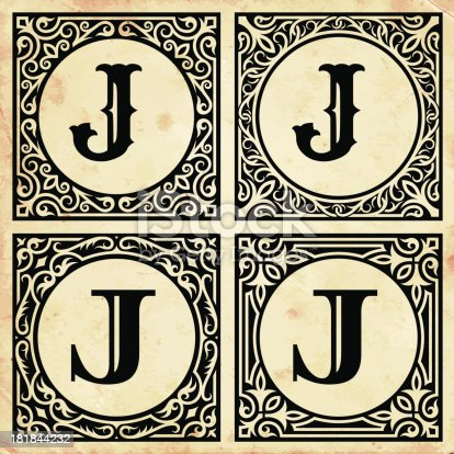 Old Paper With Decorative Letter J stock vector art