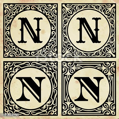 istock Old Paper with Decorative Letter N 181844250