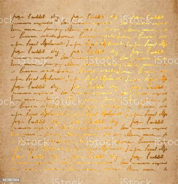 Old Paper With Golden Ink Handwriting Letter Stock Illustration - Download Image Now