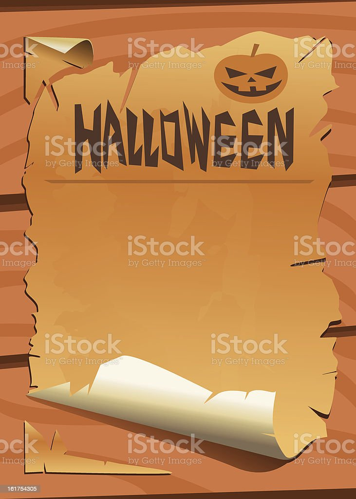 Old paper with halloween pumpkin royalty-free stock vector art