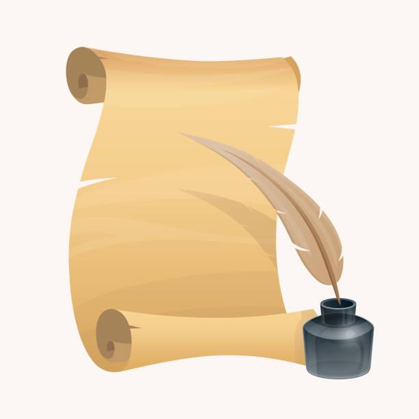 ilustrações de stock, clip art, desenhos animados e ícones de old paper with inkwell and quill pen. - tinteiro