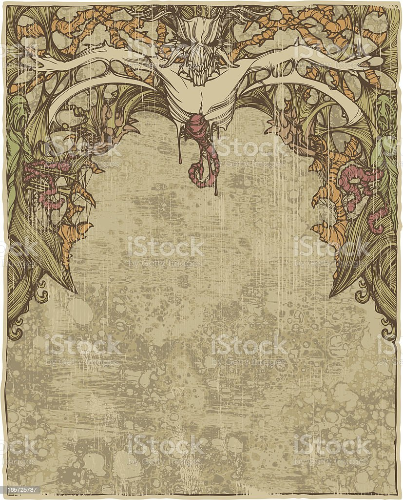 Old Paper with Scary Devil vector art illustration