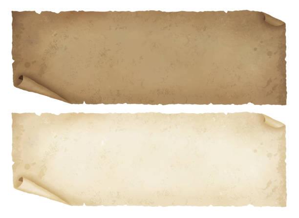 Old papers lateral length Old papers lateral length obsolete stock illustrations