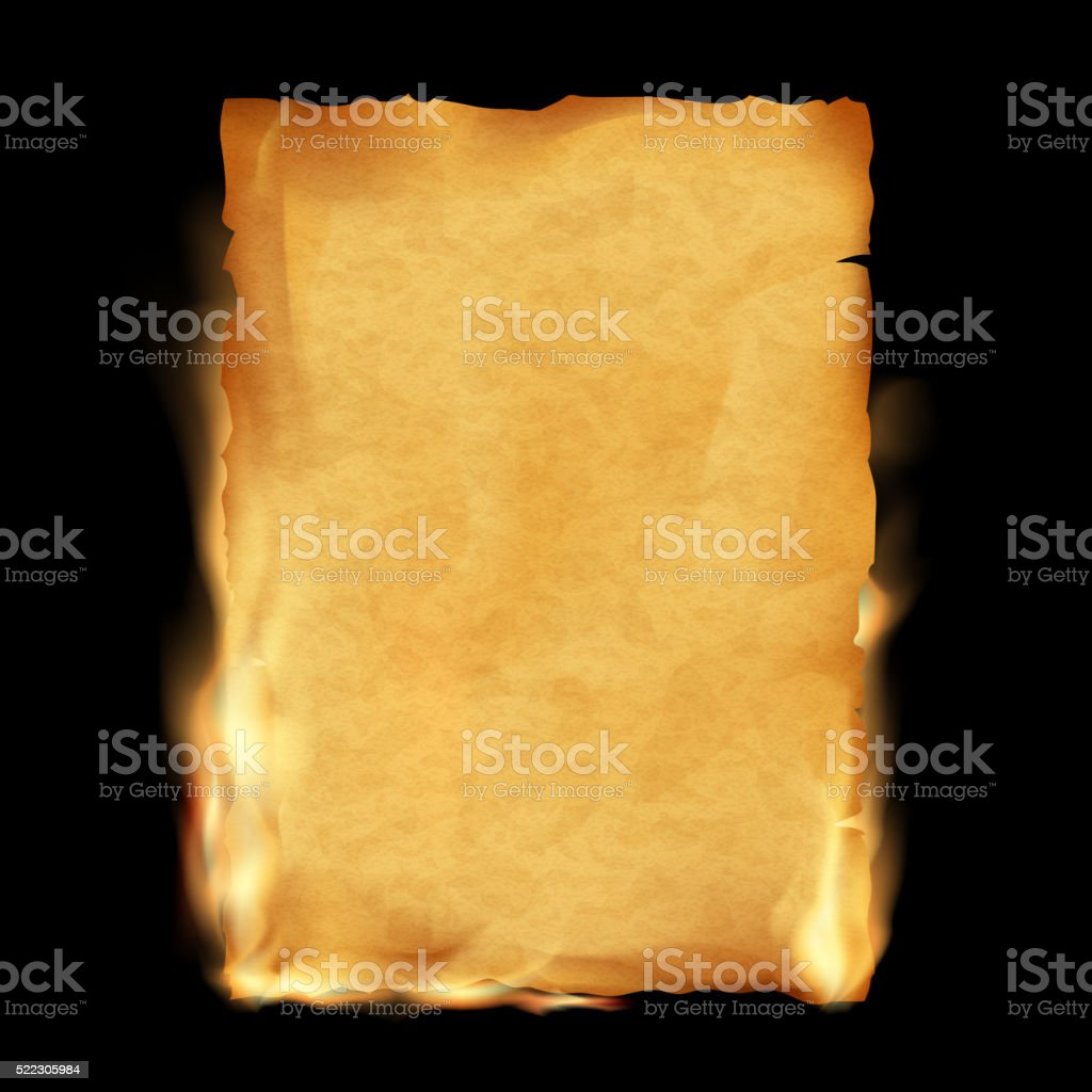 Old parchment is burning. Vintage grunge texture. vector art illustration