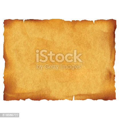 istock Old parchment isolated on white background 518586722