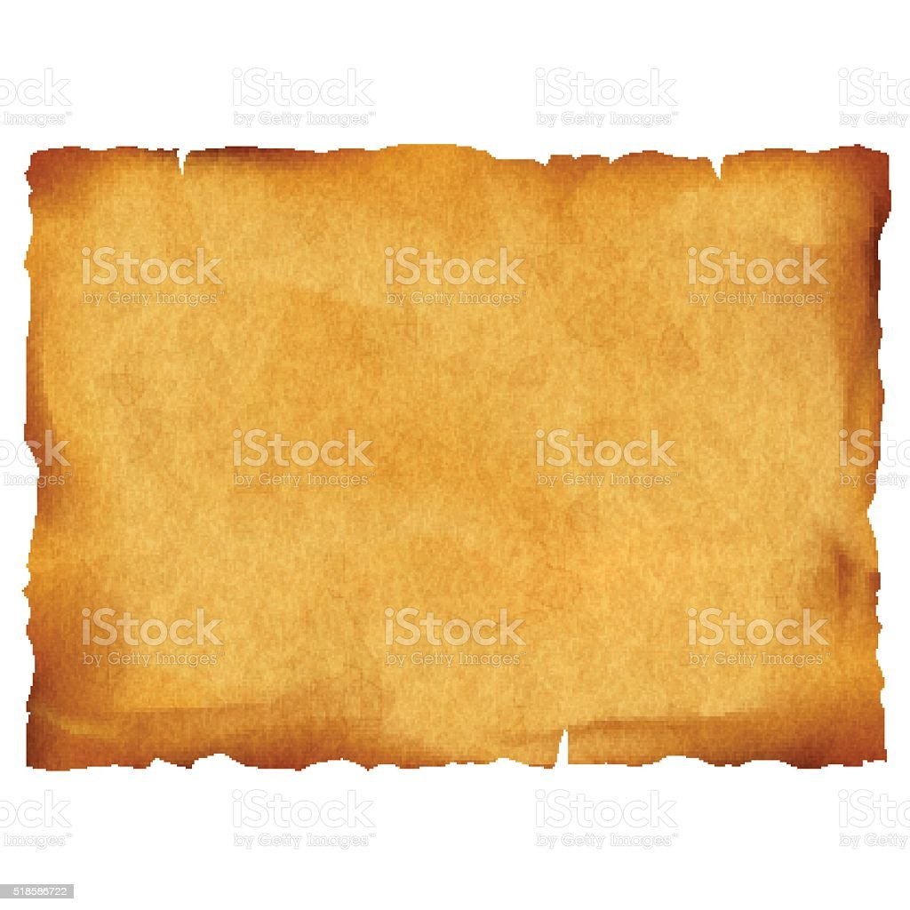 Old parchment isolated on white background vector art illustration