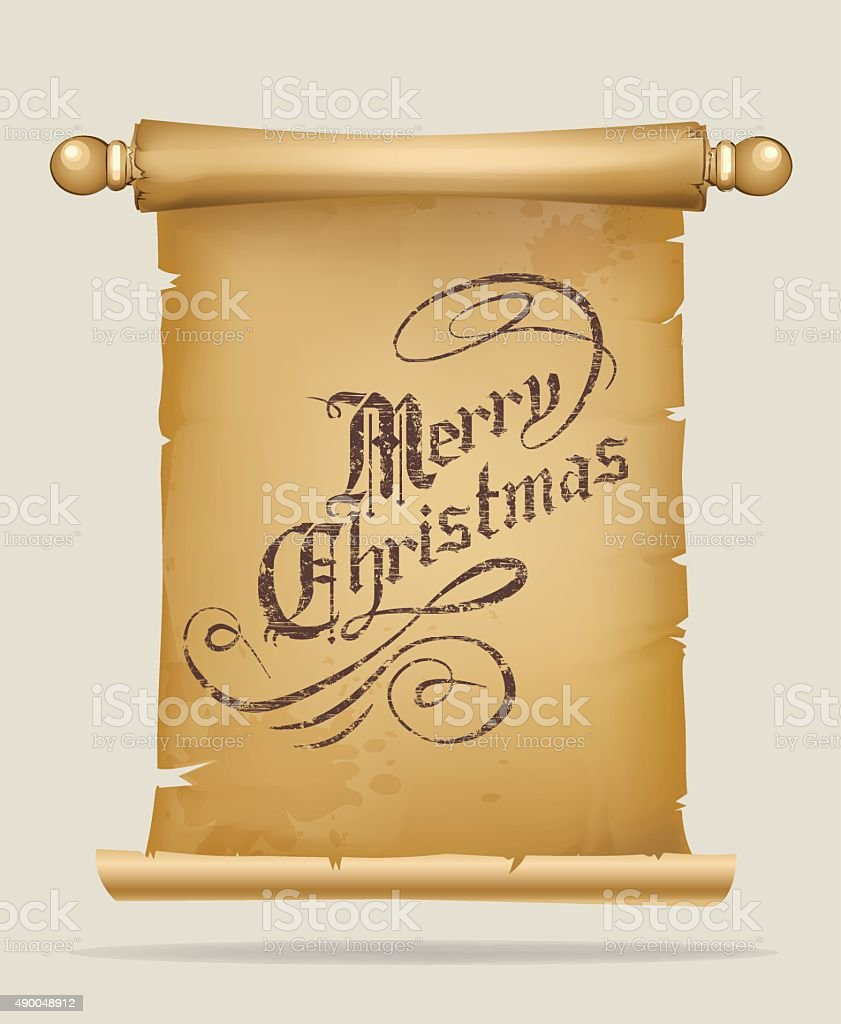 Old parchment scroll with christmas greeting text vector art illustration
