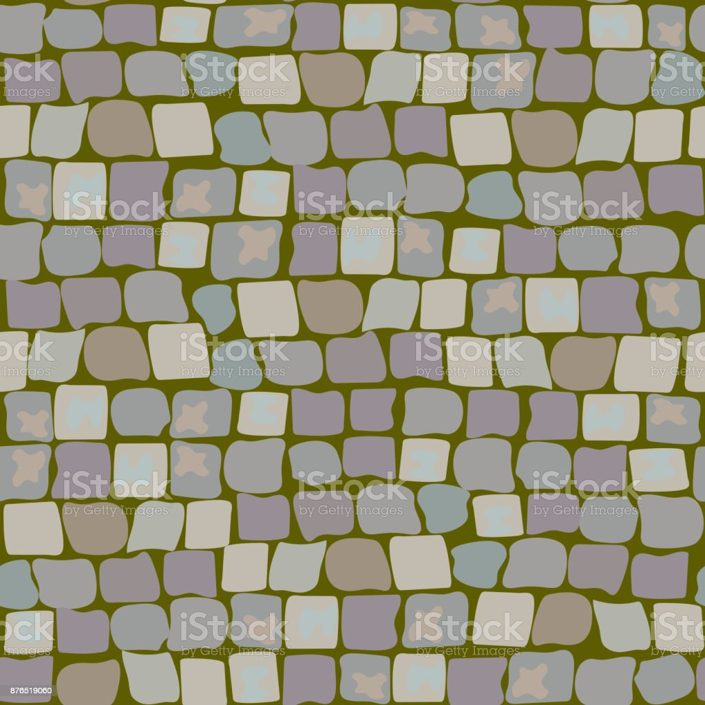 Old Paving Stones with moss and turf. Road Texture seamless pattern. wall of stone, cobbled street with grass vector art illustration