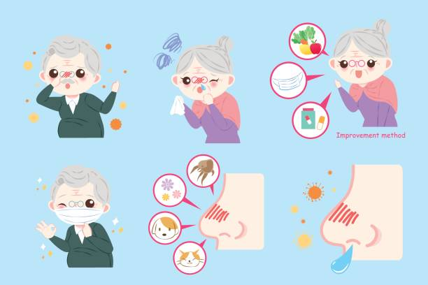 old peopele with nose problem - old man mask stock illustrations