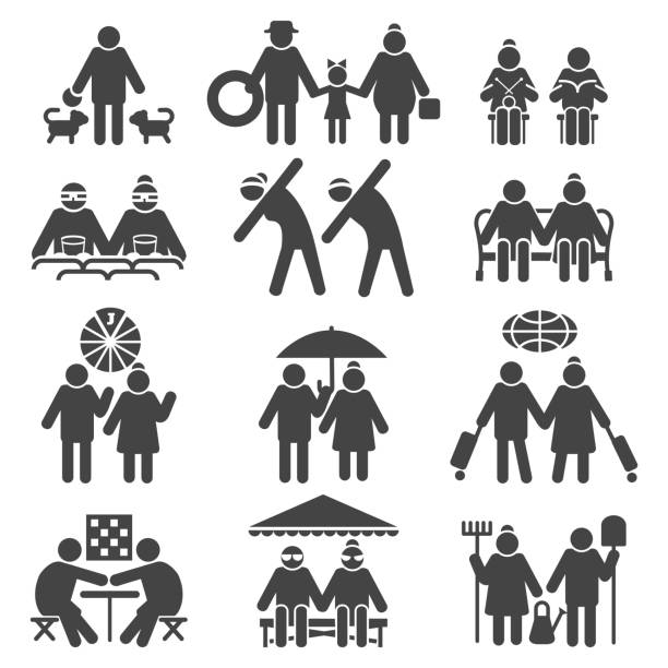 old people active lifestyle - old man smile silhouette stock illustrations