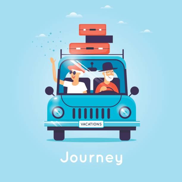Alte Menschen sind mit dem Auto unterwegs. Flache Vektor-Illustration im Cartoon-Stil. – Vektorgrafik