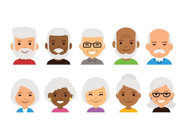 old people avatars - old man in black stock illustrations, clip art, cartoons, & icons