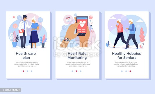 istock Old people care concept illustration set. 1134170878
