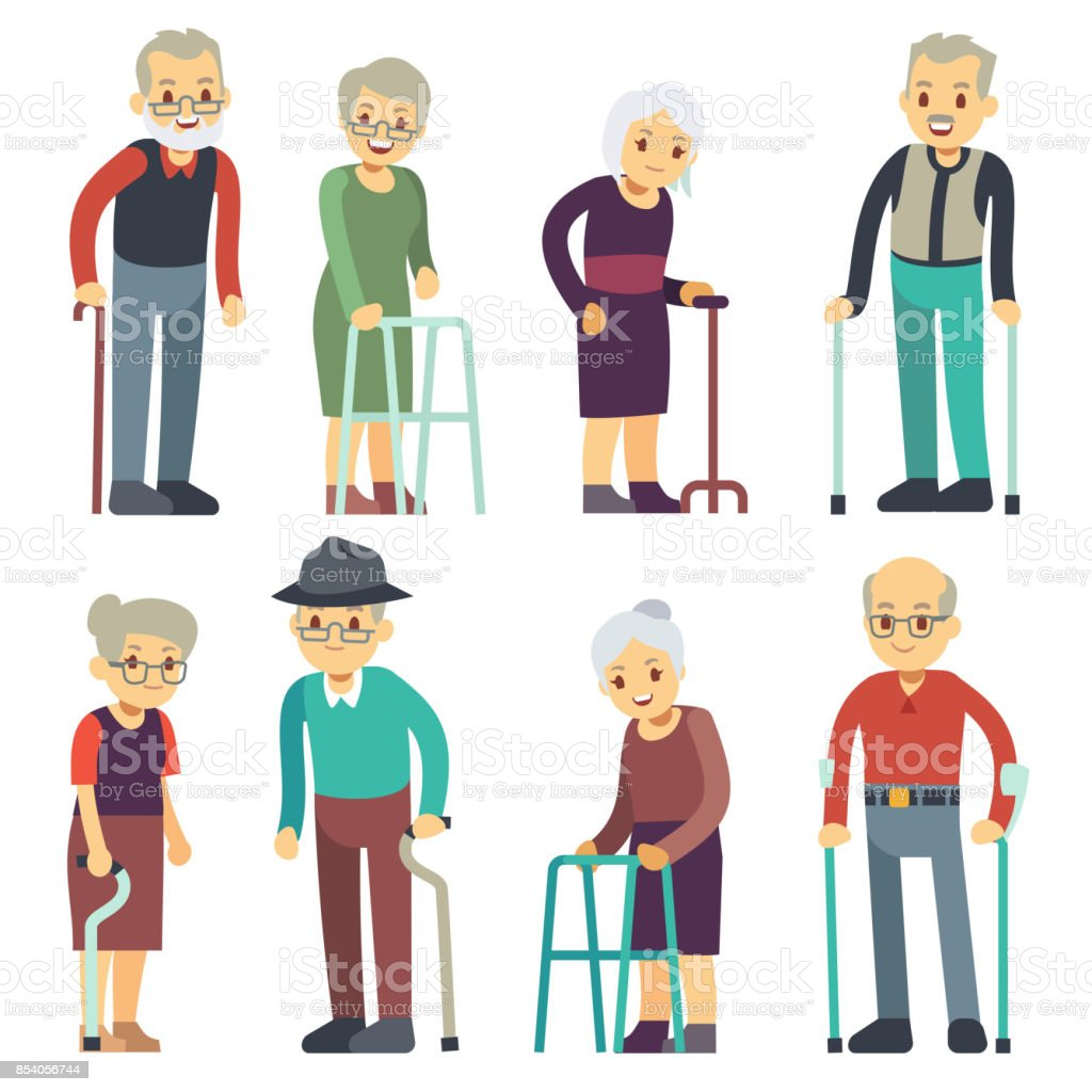 Old people cartoon vector characters set. Senior man and woman couples collection vector art illustration