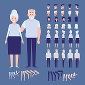 Front, side, back, 3/4 view animated characters. Elderly people man and woman creation set with various views, hairstyles.  Separate body parts.  Cartoon style, flat vector illustration.