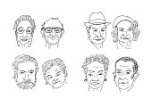Men and women faces hand drawing cartoon. Faces sketching vector.
