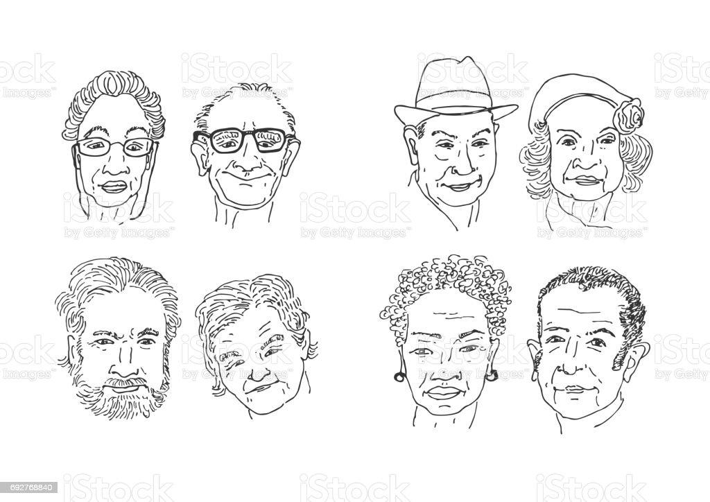 Viejos rostros de la gente de dibujo. - ilustración de arte vectorial