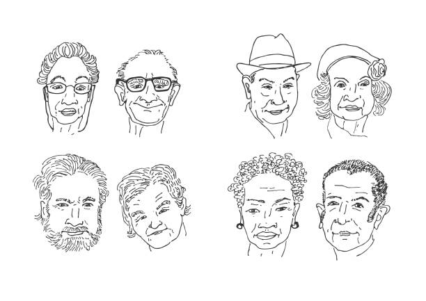 old people faces drawing. - old man faces stock illustrations, clip art, cartoons, & icons