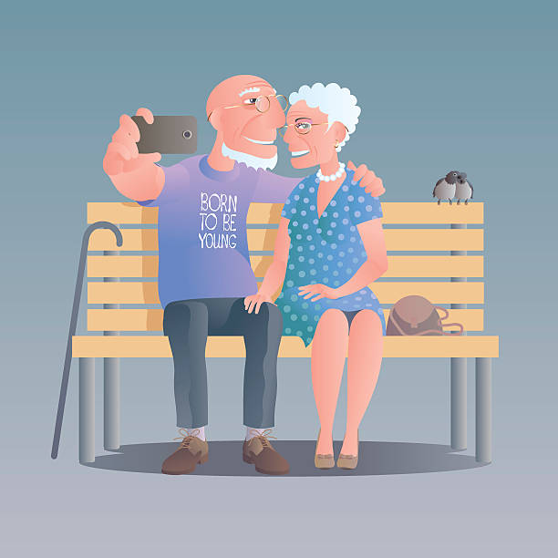 old people happy and active vector illustration - old man portrait pic stock illustrations, clip art, cartoons, & icons