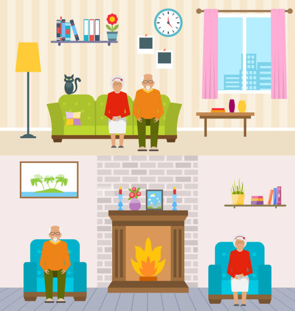 old people home interior background. aged characters, household furniture, pension - old man sitting chair silhouettes stock illustrations, clip art, cartoons, & icons
