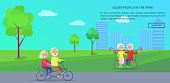 Old people in the park vector banner with happy mature couple riding bike on background of skyscrapers, husband and wife on retirement sit on bench