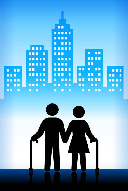 old people in the city - old man stick figure background stock illustrations, clip art, cartoons, & icons