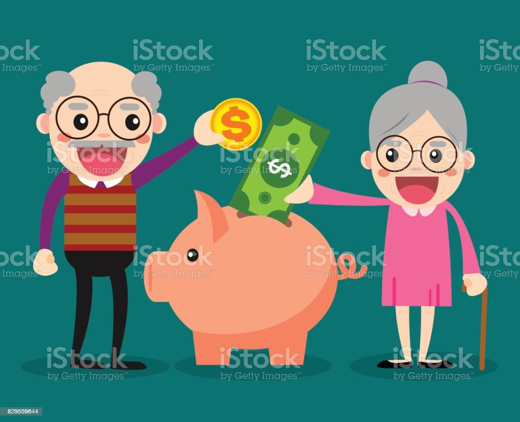 Old people keep their savings in the piggy bank vector art illustration