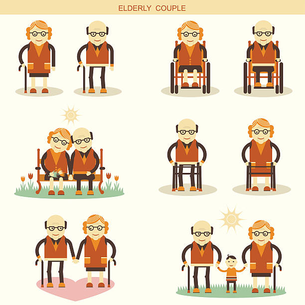 old people life.vector icons isolated - old man in rocking chair silhouette stock illustrations, clip art, cartoons, & icons