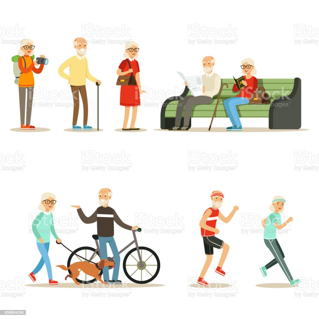 Old People Living Full Live And Enjoying Their Hobbies And Leisure Collection Of Smiling Elderly Cartoon Characters royalty-free old people living full live and enjoying their hobbies and leisure collection of smiling elderly cartoon characters stock vector art & more images of adult