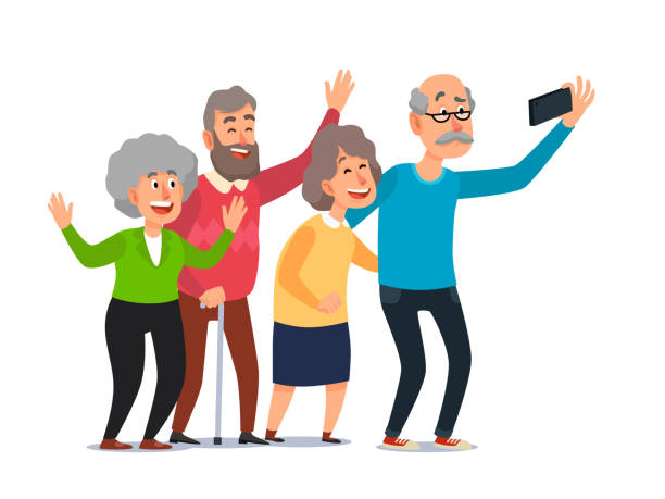 Old people selfie. Senior people taking smartphone photo, happy laughing group of seniors cartoon illustration vector art illustration