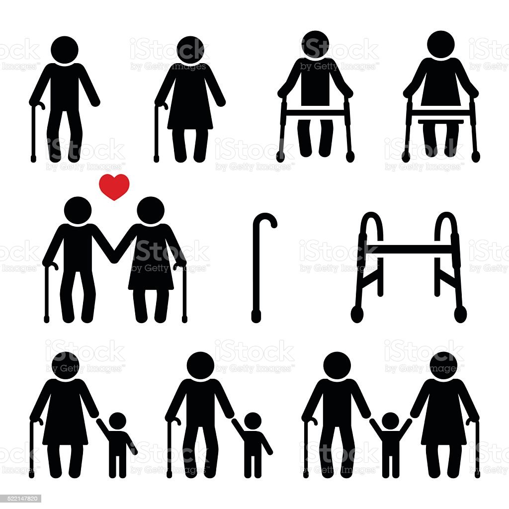 Old people, seniors with walking stick or Zimmer frame vector art illustration
