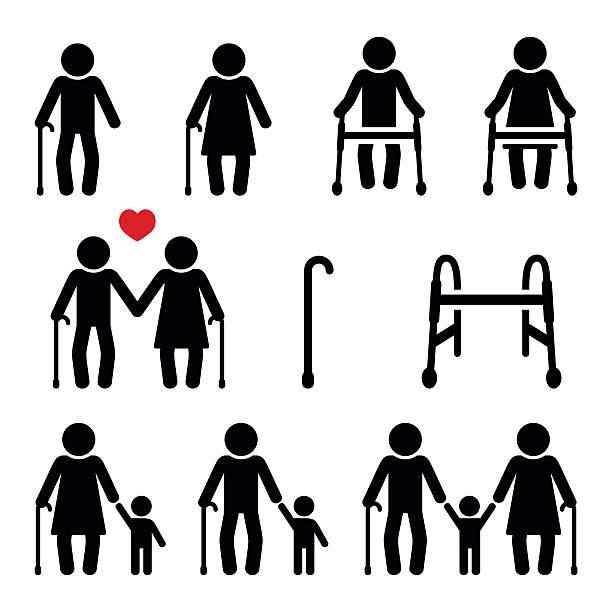 illustrazioni stock, clip art, cartoni animati e icone di tendenza di anziani, senior con bastone da passeggio o cornice zimmer - nonna e nipote camminare