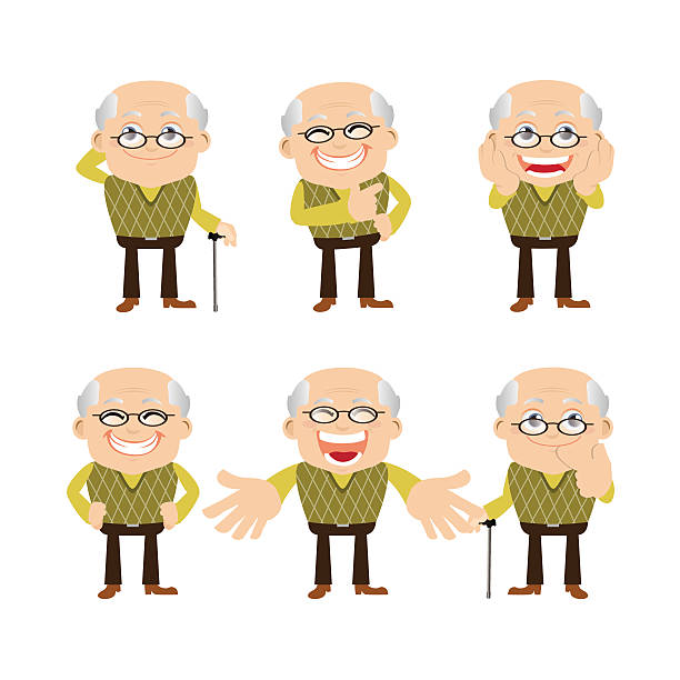 old people set - old man smiling silhouettes stock illustrations, clip art, cartoons, & icons