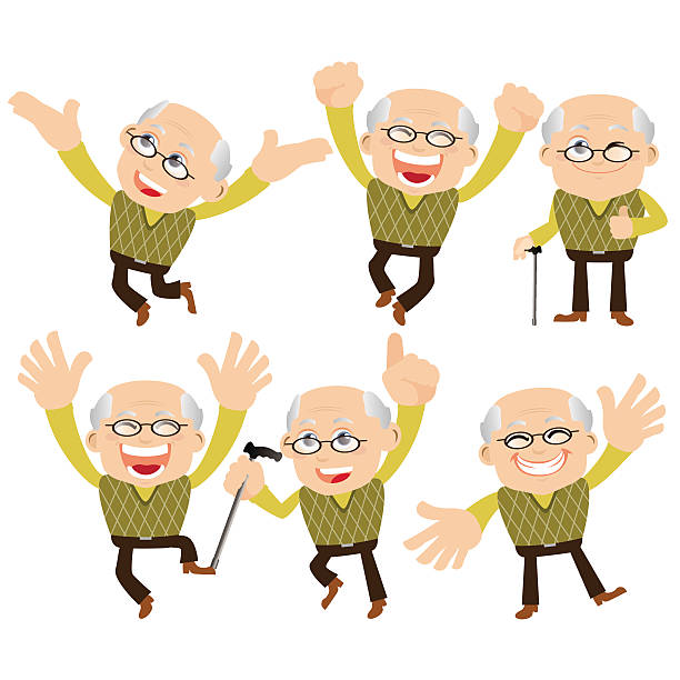 old people set - old man showing thumbs up cartoons stock illustrations, clip art, cartoons, & icons
